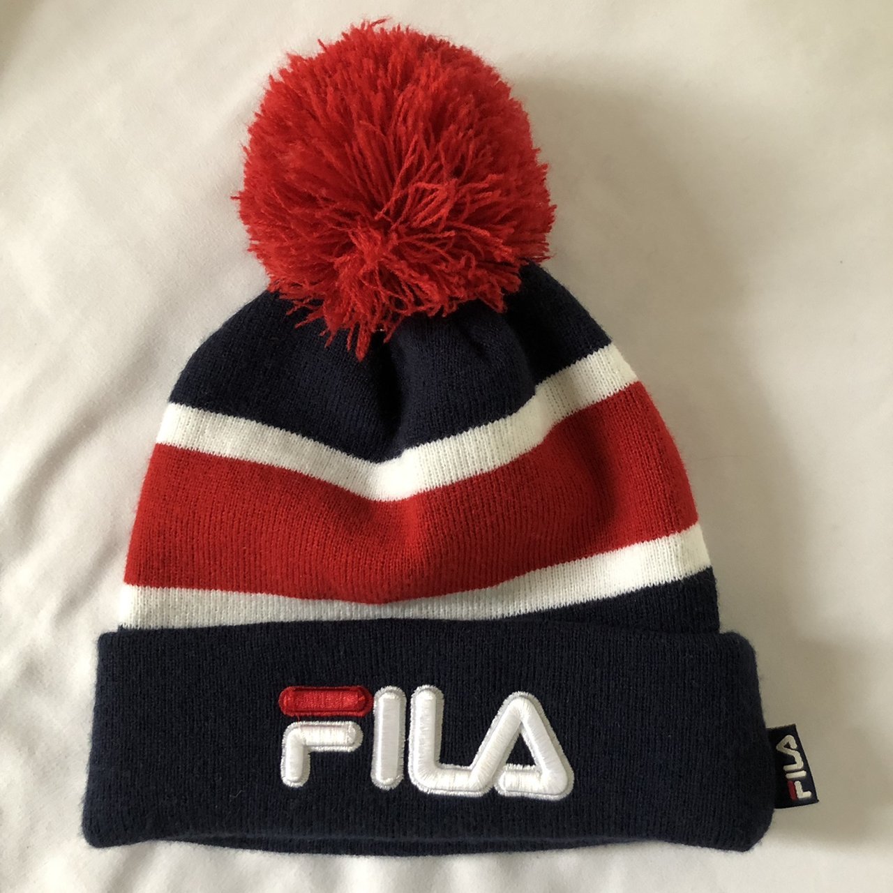 8d98edca Fila beanie red white and blue colorblock with pom great - Depop