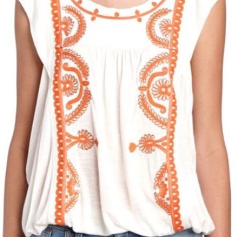 a97b3d8c FREE PEOPLE Dos Segundos top Color Ivory with orange and on - Depop