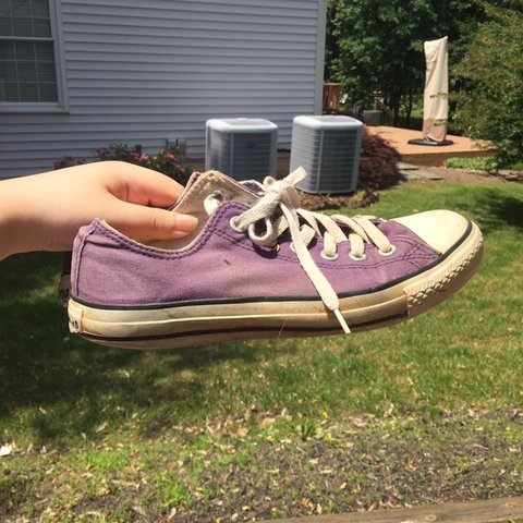 ceb87a68bf Purple converse sneakers! - VERY preloved but gives that a - Depop