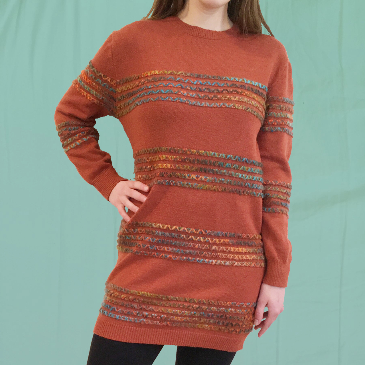 Product Image 1 - Orange striped sweater dress with