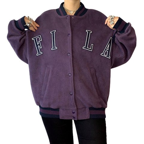 dd70bc709da0 Obsessed with this Fila jacket! Purple bomber jacket in a if - Depop