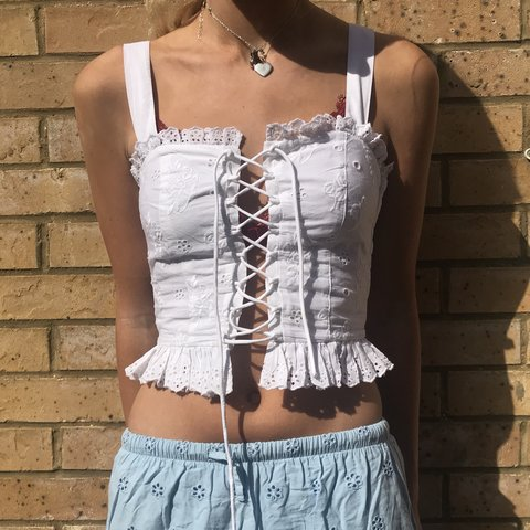 5de611a6446 💥💥💥 this amazing corset lace up top strappy vest summer t - Depop