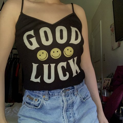 "08a3f925 Black Ribbed Smiley Face Crop Top that says ""Good Luck"". as - Depop"