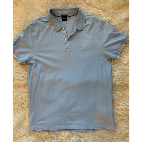b69534bd1 @morainic. in 2 hours. Phoenix, United States. Hugo Boss regular fit pima  cotton polo in light blue. Size M