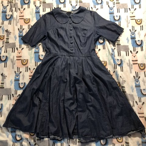 592190a2887 @pokinya. yesterday. Portland, United States. Peter Pan Collar Button Front  Denim Swing Dress