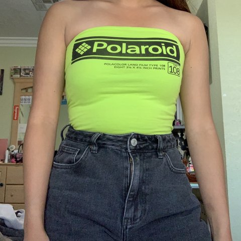 ade9fe38700 The cutest neon Polaroid tube top This is such a vintage ur - Depop
