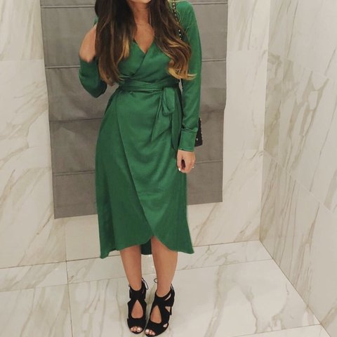 4e1a2785bec5 Emerald green midi wrap dress from Never Fully Dressed. Worn - Depop