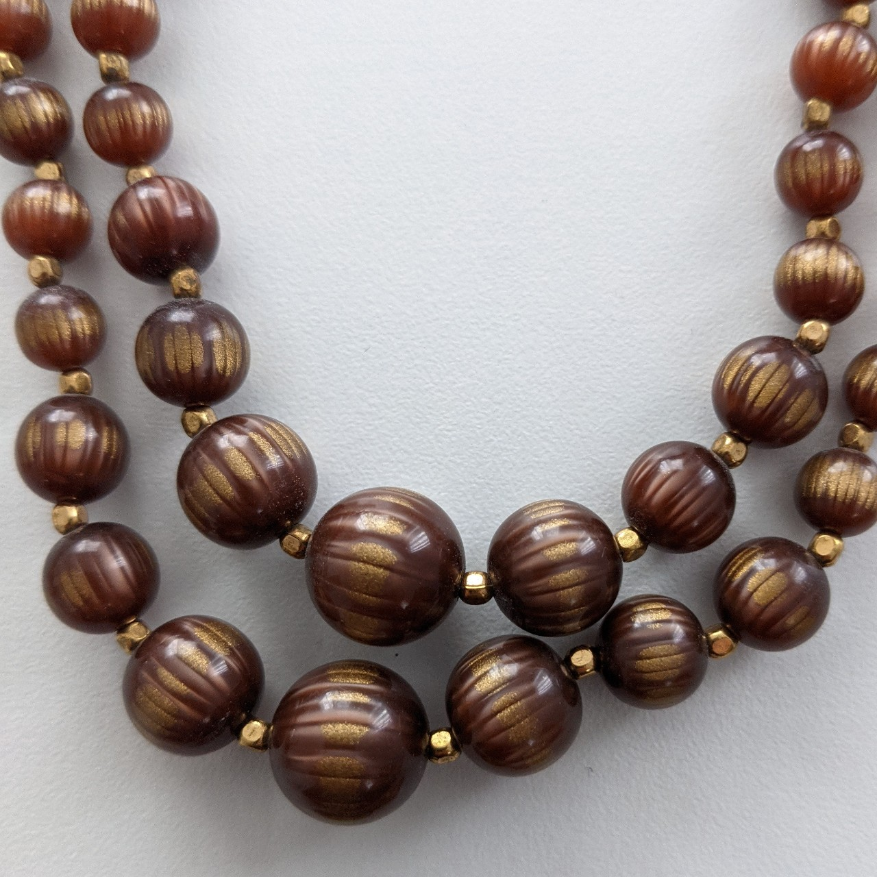 Product Image 1 - 1950s brown, two-strand Moonglow bead
