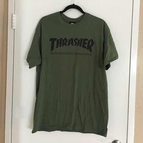2ba357a5930c olive and black Thrasher shirt -brand new condition, tried - Depop