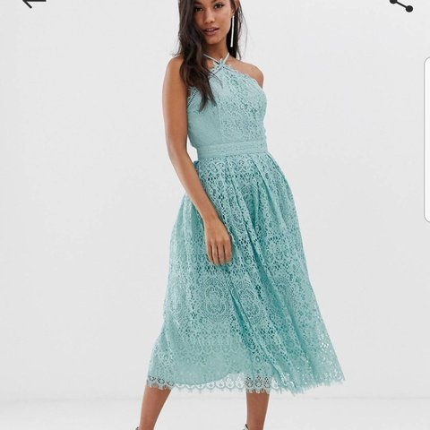 7bf11ba6 Green/Blue lace wedding guest dress. Worn once in great Size - Depop