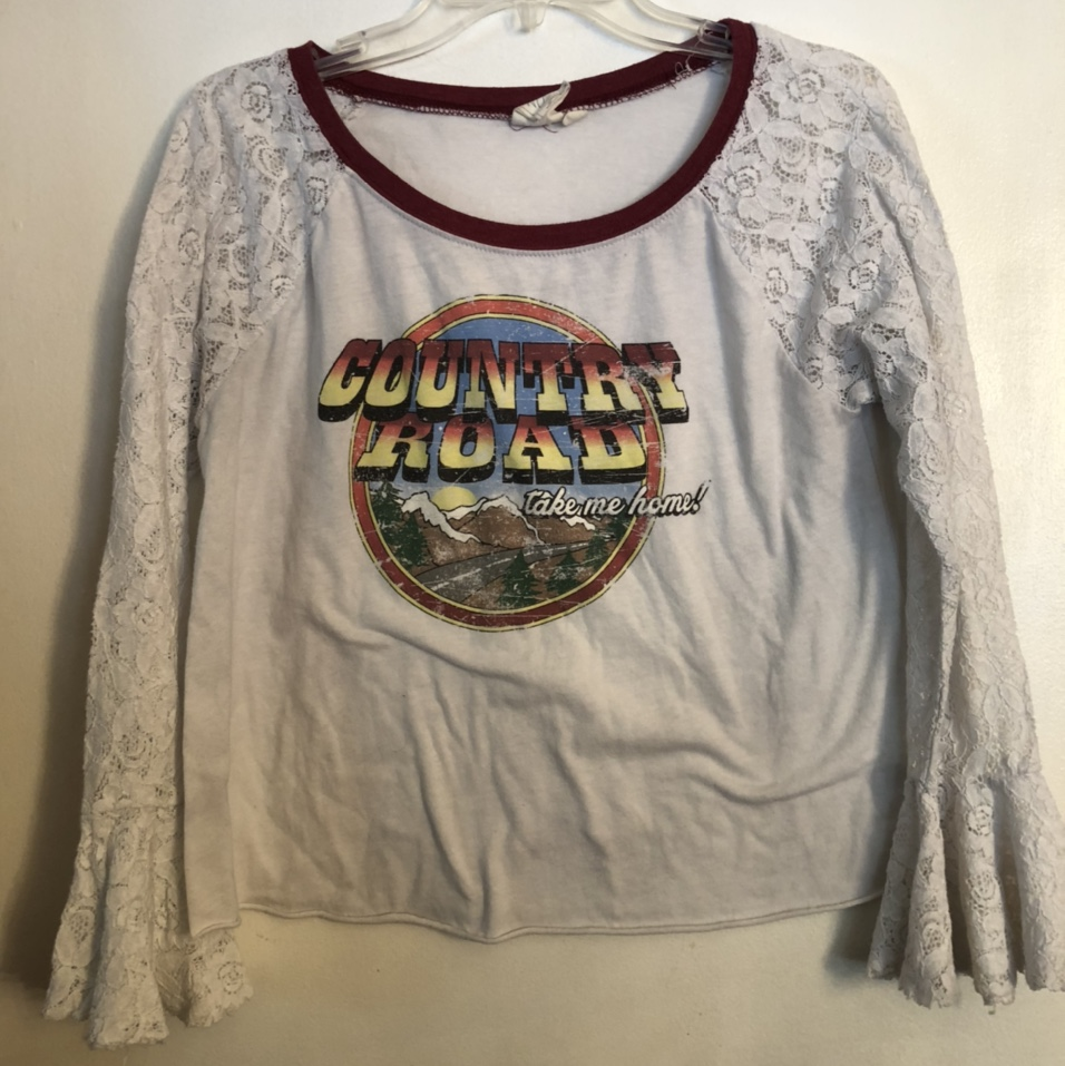 """Product Image 1 - White crow """"Country Roads"""" blouse."""