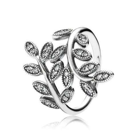 b62a19cbb Pandora sparkling leaves ring, sterling silver and clear cz! - Depop