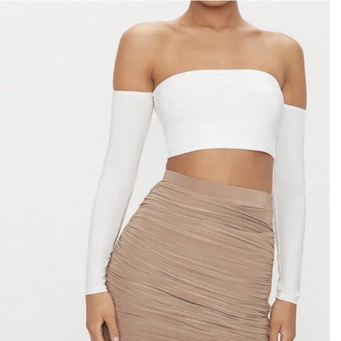 dc51139dcf6 @xmarliewilkins. 2 days ago. Bracknell, United Kingdom. white pretty little  thing off the shoulder crop top