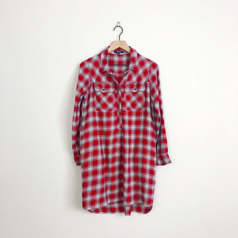 a963e4d93c3 @shirtoffmyrack. 26 days ago. Cleveland, United States. Madewell daywalk  red plaid long sleeve button shirt dress.