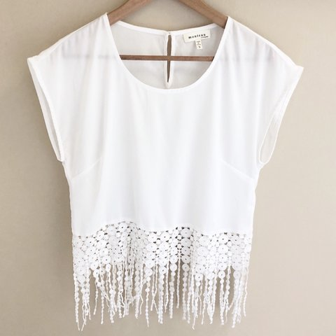 Monteau Crochet Fringe Top Size Small S Features White Depop