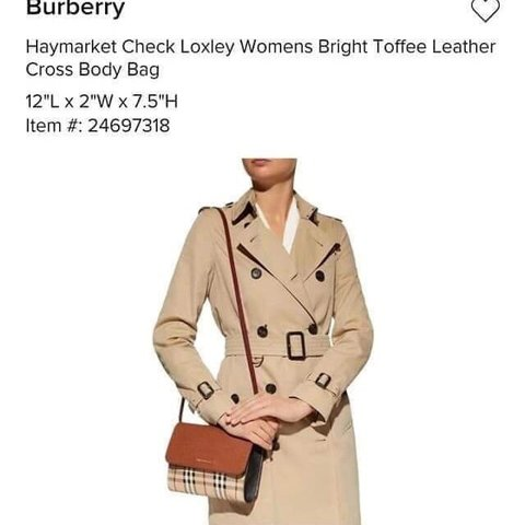 ce2539e5f4 @loisfashionline. last month. United States. Burberry Haymarker Check  Loxley Womens Bright Toffee Leather Cross ...