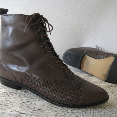 604697dd7d832 @oitori. 14 days ago. Georgia, US. 90s Woven Toe Huarache Brazilian Lace up  Ankle Boots Shoes Women size 9/9.5 Labeled 10. Vintage brown boots