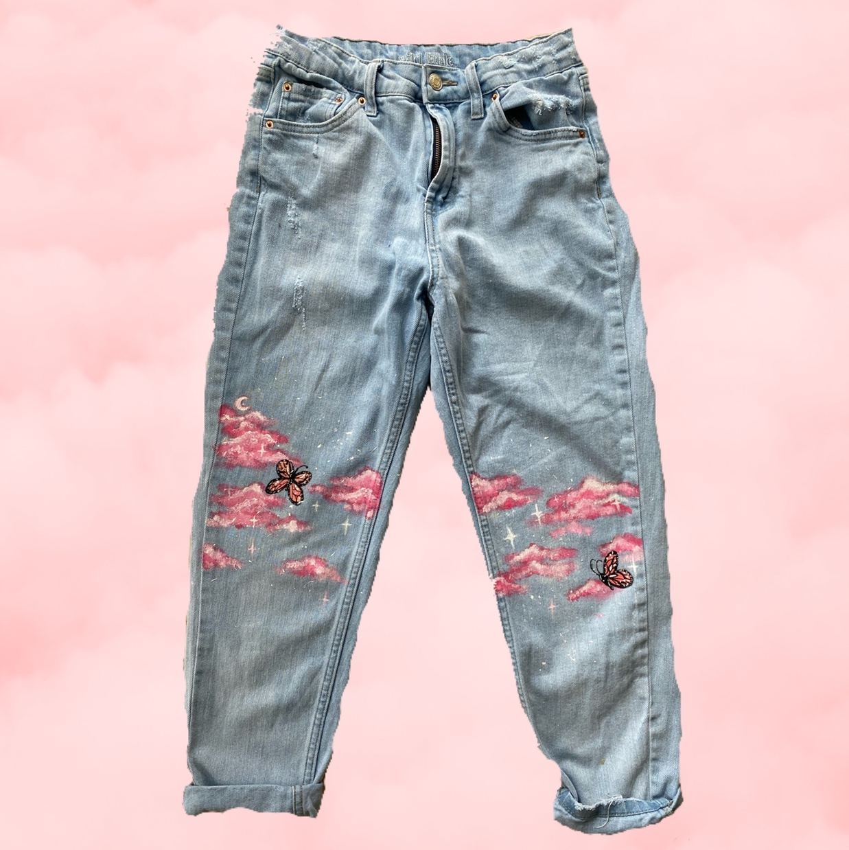 Product Image 1 - Hand-painted jeans Pink clouds, stars, and