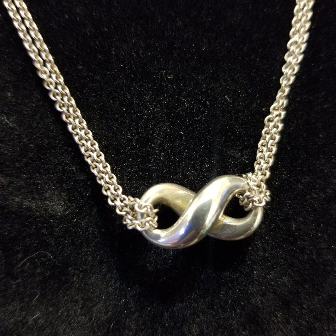 46a847092 Tiffany & Co 925 Silver Double Strand Infinity Necklace! is - Depop