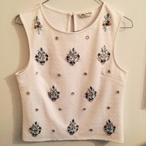 White Knitted Checkered Crop Top River Island