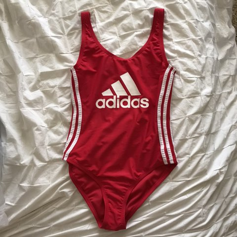 1963eb02bef @coralhaskell. in 20 hours. Temecula, United States. Adidas cherry red one-piece  bathing suit swimwear bikini with white stripes ...
