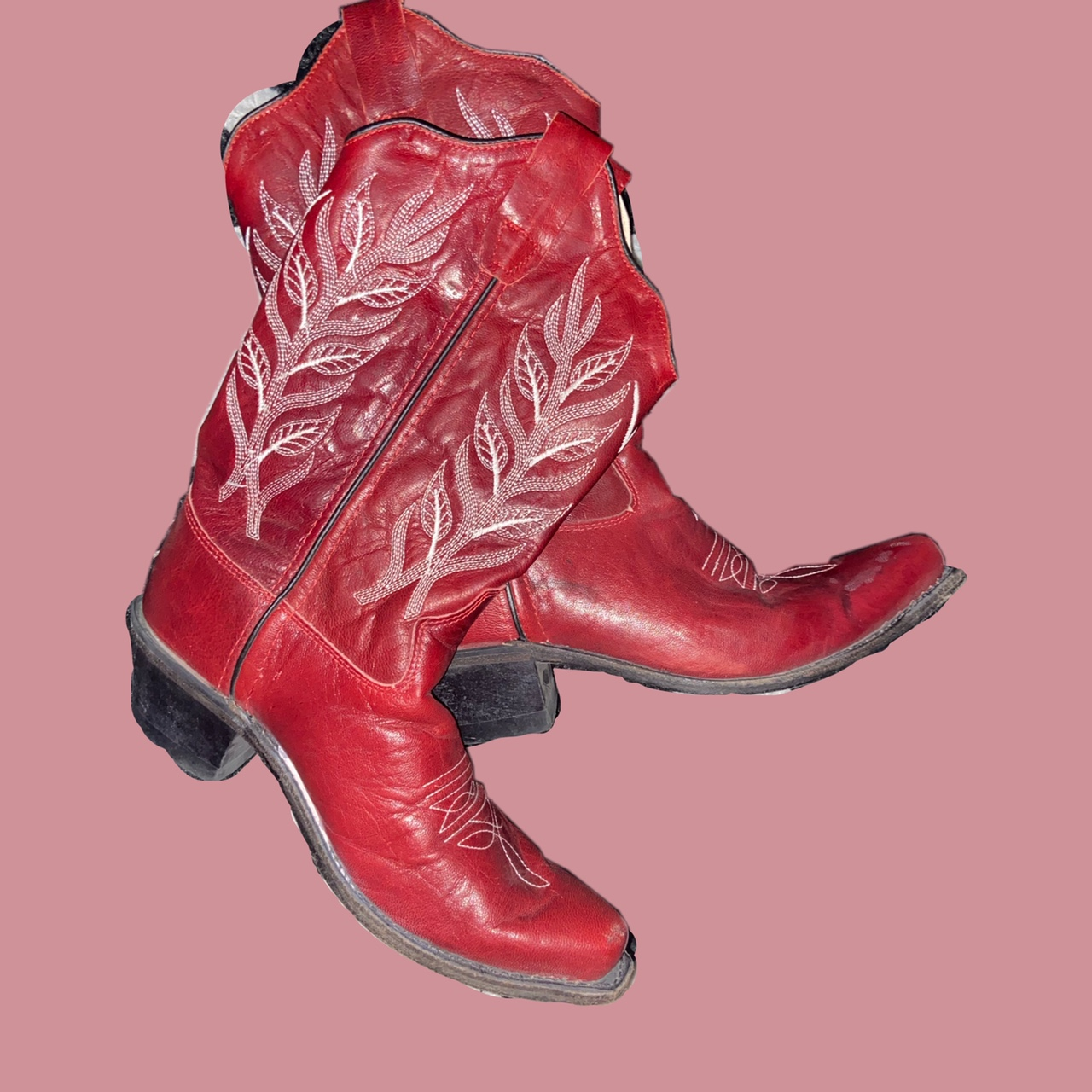 Product Image 1 - Vintage Red Leather Western Cowboy