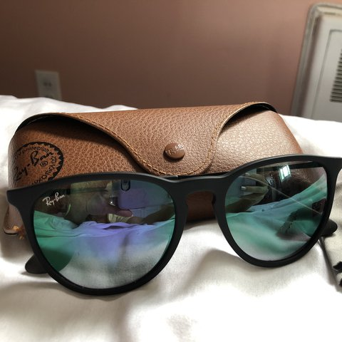 eecdf87f7 Ray Ban Erika style black. Lens are green/purple/blue Small - Depop