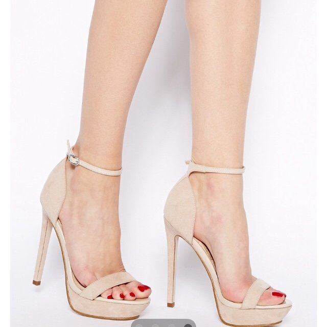 Nude Ankle Strap Heels