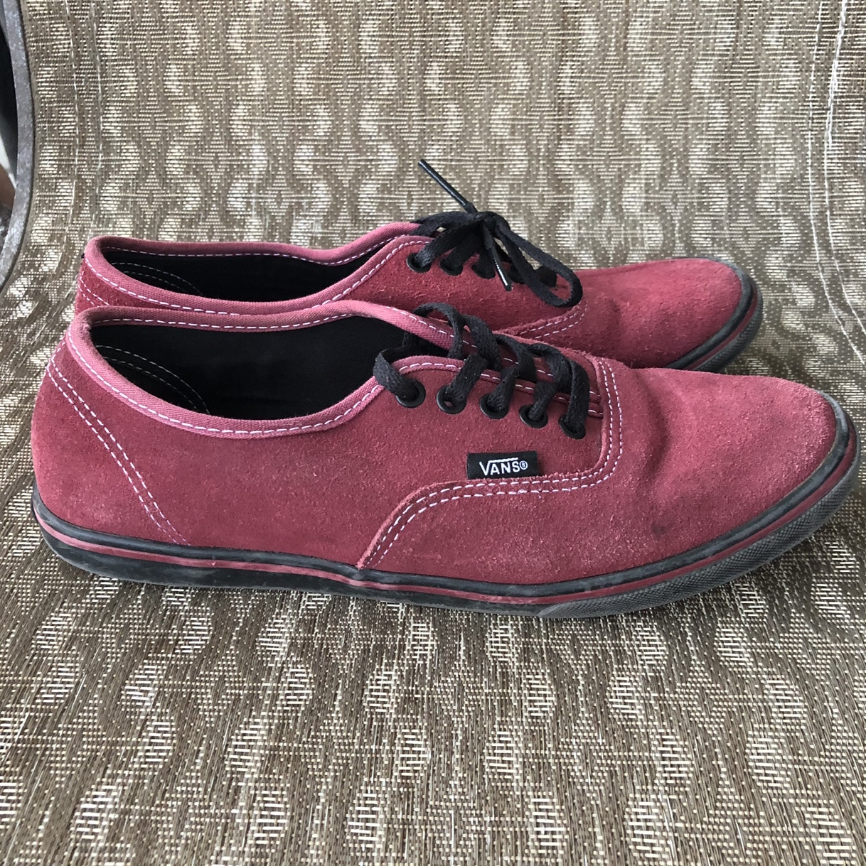 d9bb98da2b51 maroon vans with low bottom band and original laces- some in - Depop