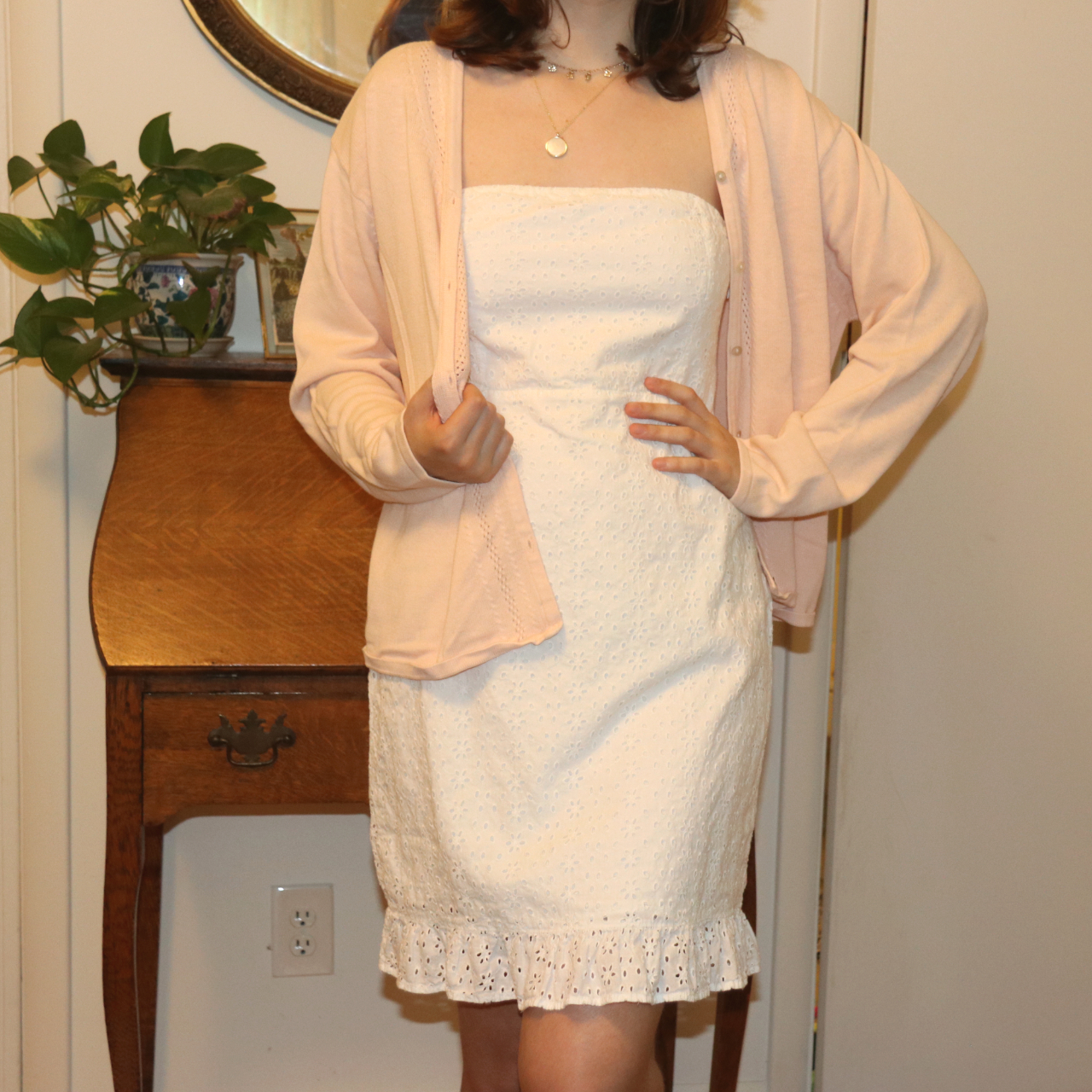 Product Image 1 - strapless white summer dress. cotton