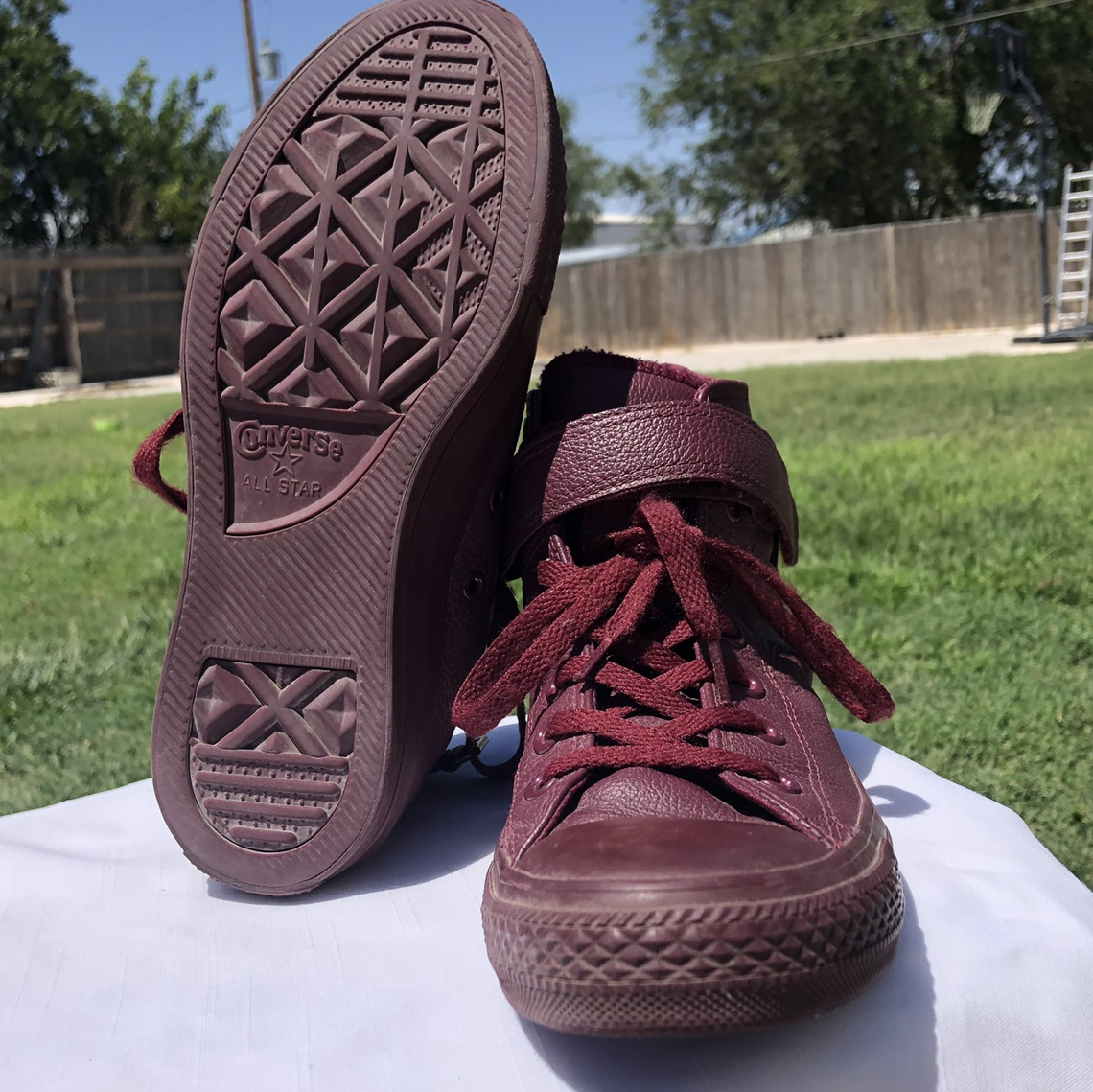 Product Image 1 - Maroon Converse high tops. Good