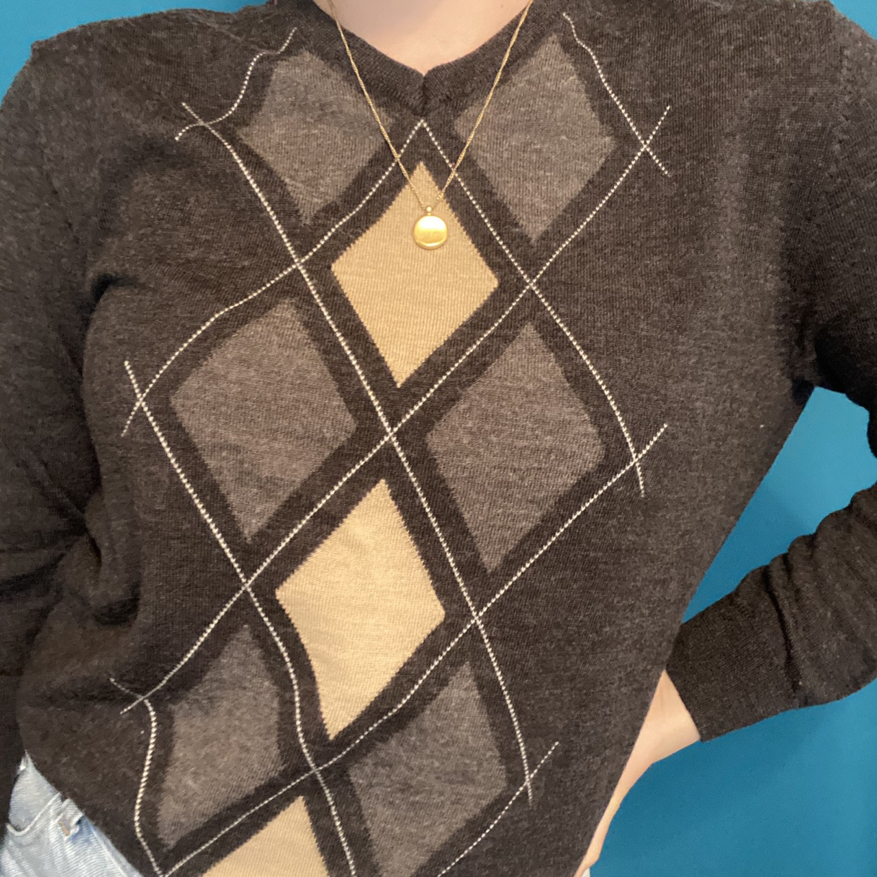 Product Image 1 - Tan and grey argyle sweater.