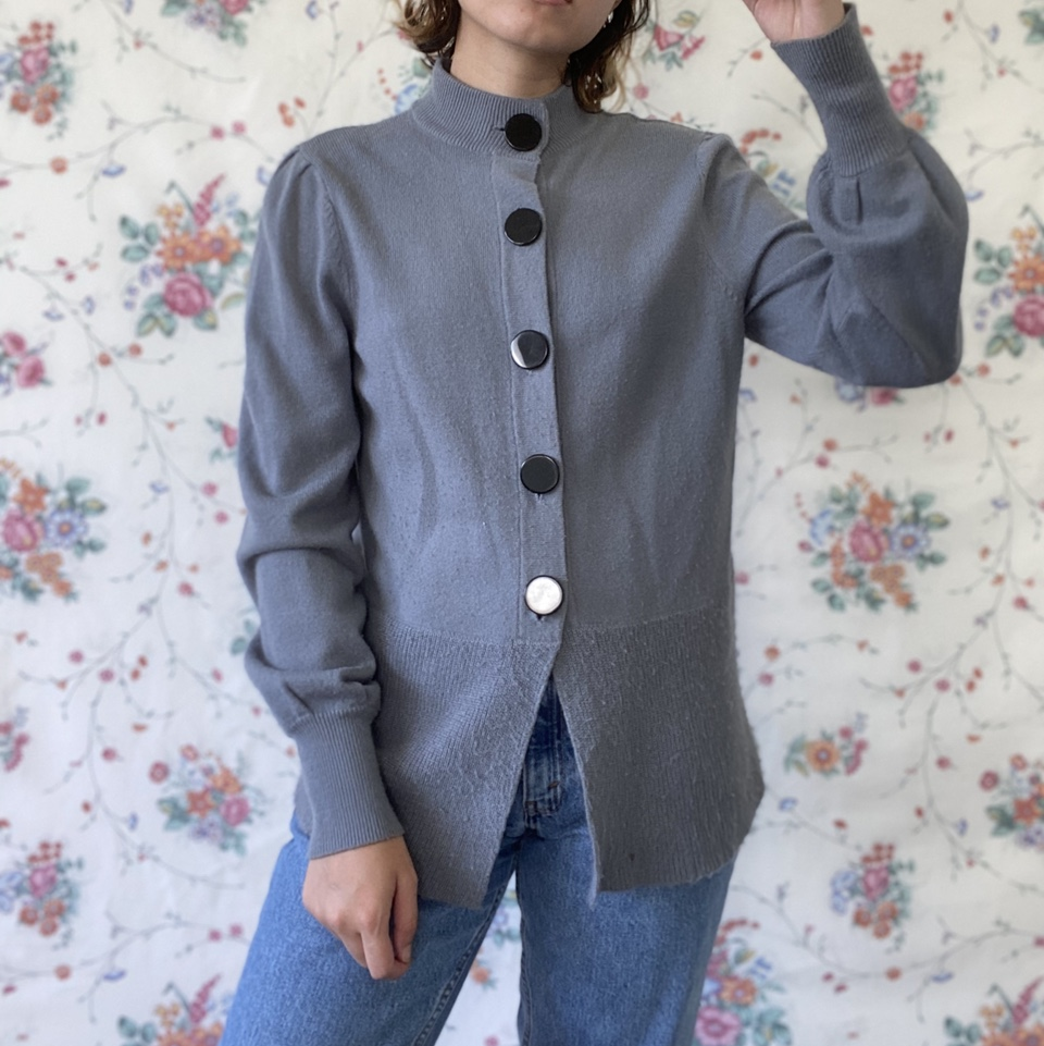 Product Image 1 - Blue gray knit cardigan sweater.