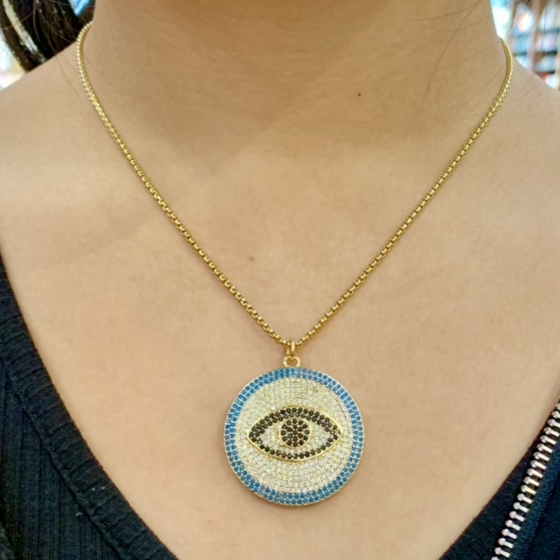 Product Image 1 - Gold Evil Eye Pendant Necklace  TWO