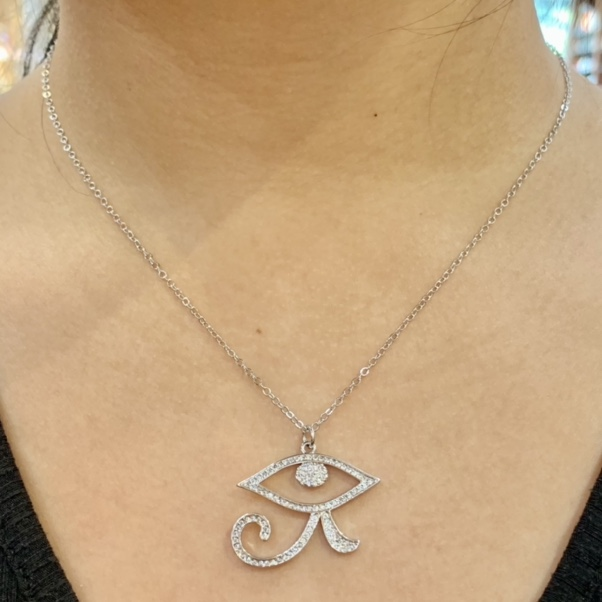 Product Image 1 - Silver Evil Eye Pendant Necklace  TWO