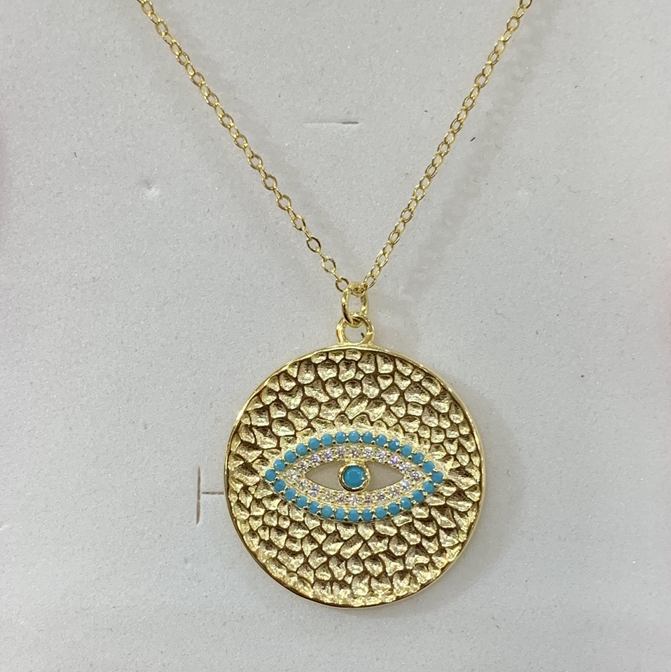 Product Image 1 - Gold Evil Eye Necklace  ONE PEICE