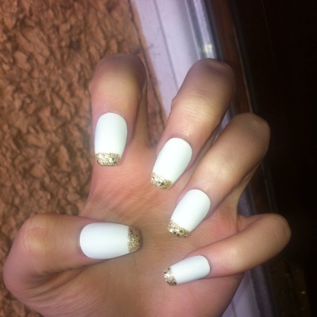Square White Tip Nails White Square False Nails