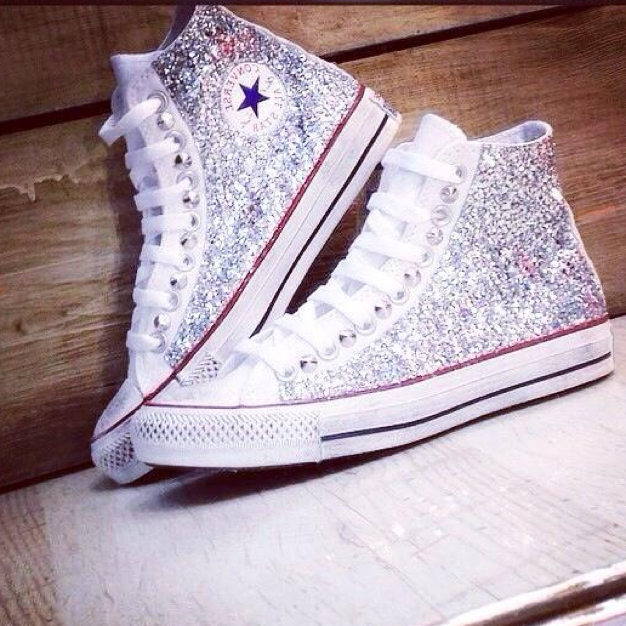 converse all star bianche con strass