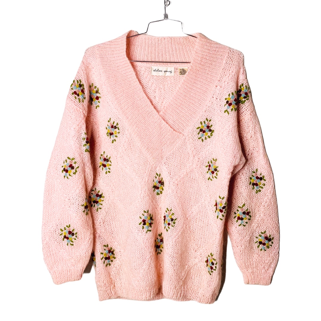Product Image 1 - Cottagecore Pale Pink Floral Embroidered