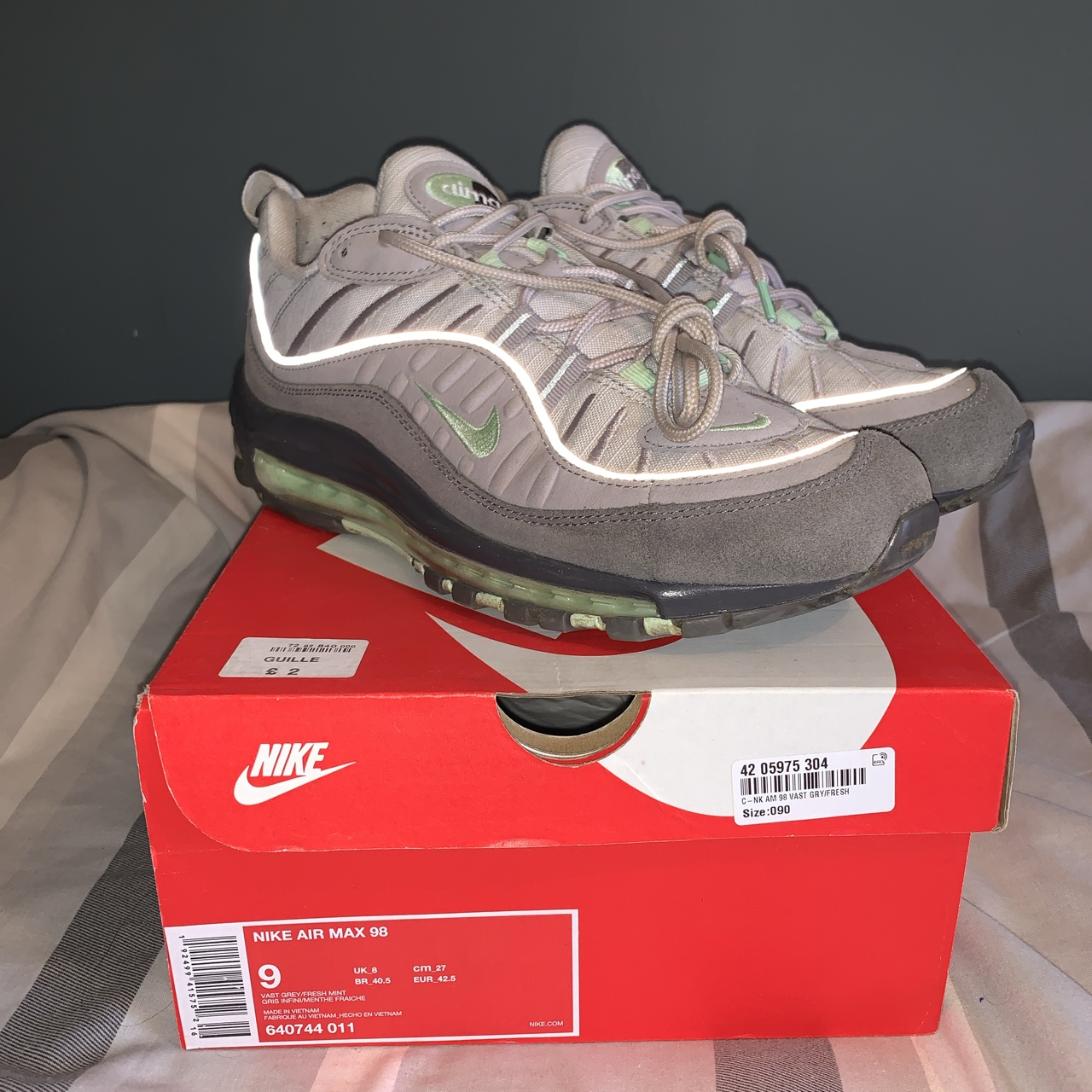 NIKE AIR MAX 98 GREY/MINT GREEN CONDITION - 8/10... - Depop