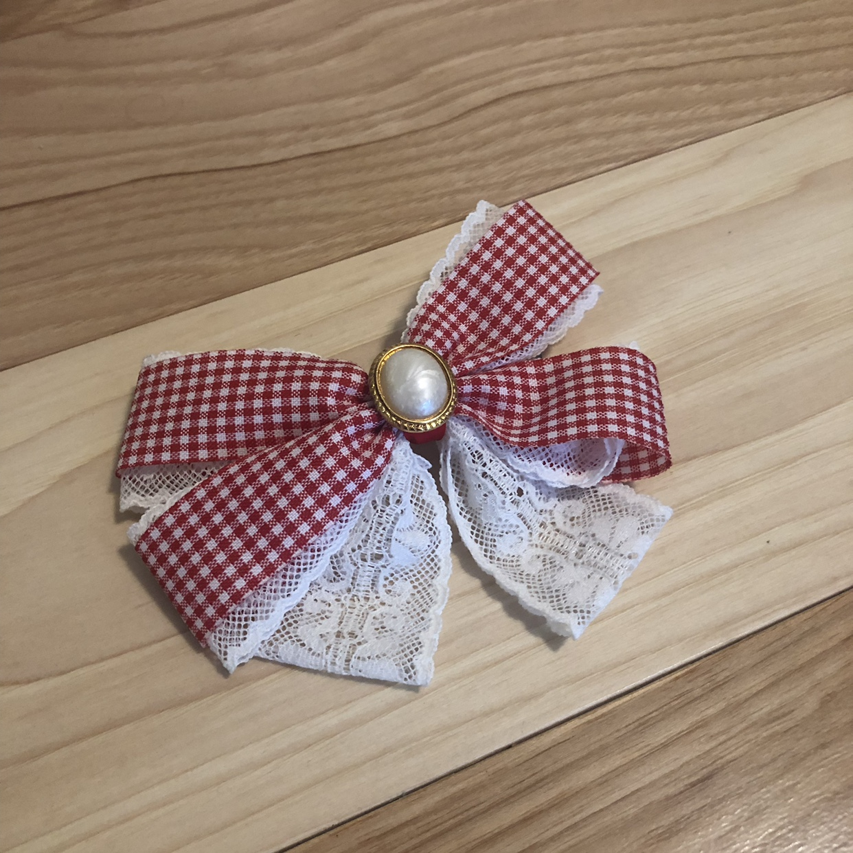 Product Image 1 - Red Gingham & Lace Bow
