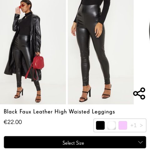 c8ec5a241cd43 @tyrabermann. 26 days ago. Leixlip, Ireland. Black pretty little thing faux  leather high waisted leggings. Worn once. Size 6-8 will fit a 10 ...