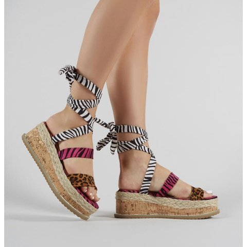52edd76352631 Presca lace up flatform sandals in mixed animal print from , - Depop
