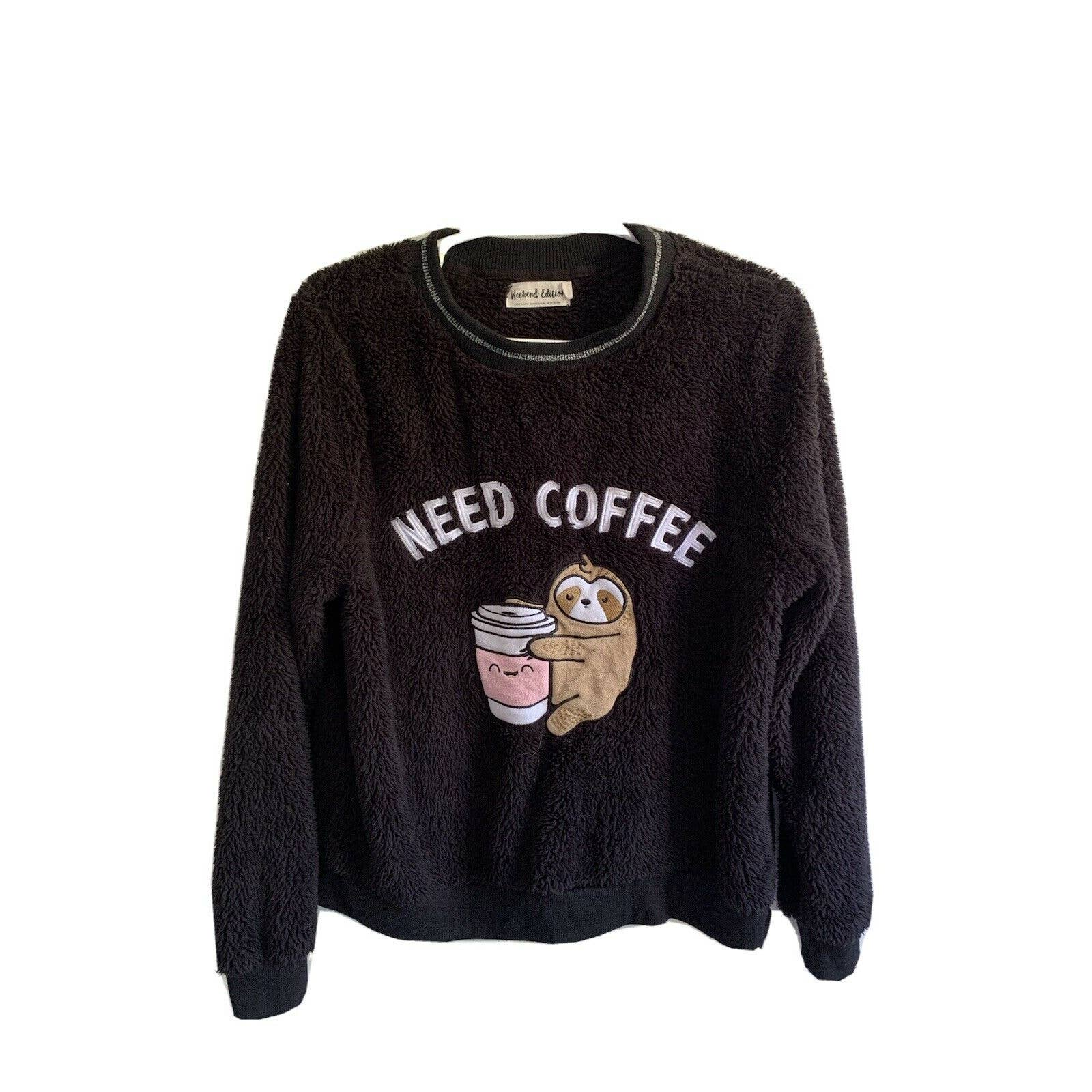 """Product Image 1 - """"Need Coffee"""" Fuzzy Sweater —"""