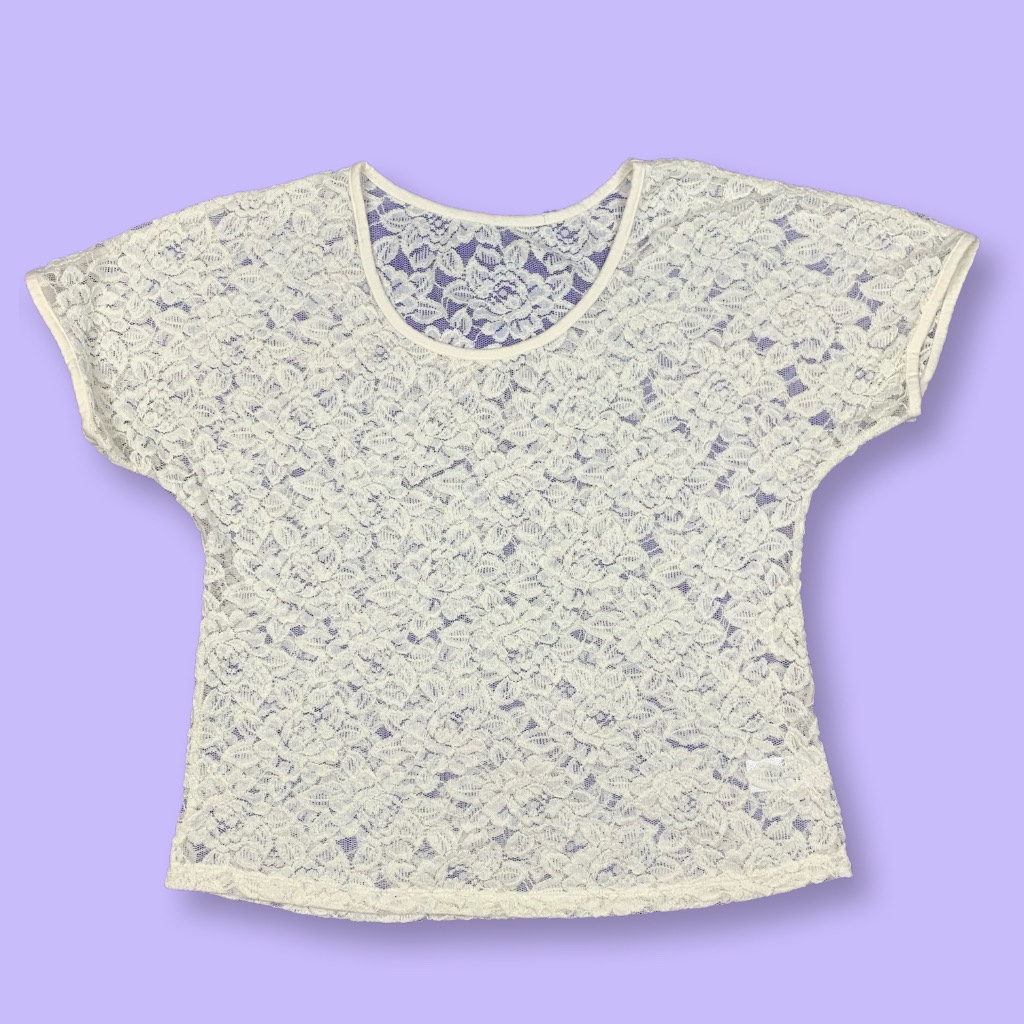 Product Image 1 - White floral eyelet lace see-through