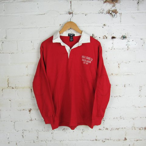 c078f95dd VINTAGE RALPH LAUREN POLO JEANS COMPANY RED RUGBY POLO AS XL - Depop