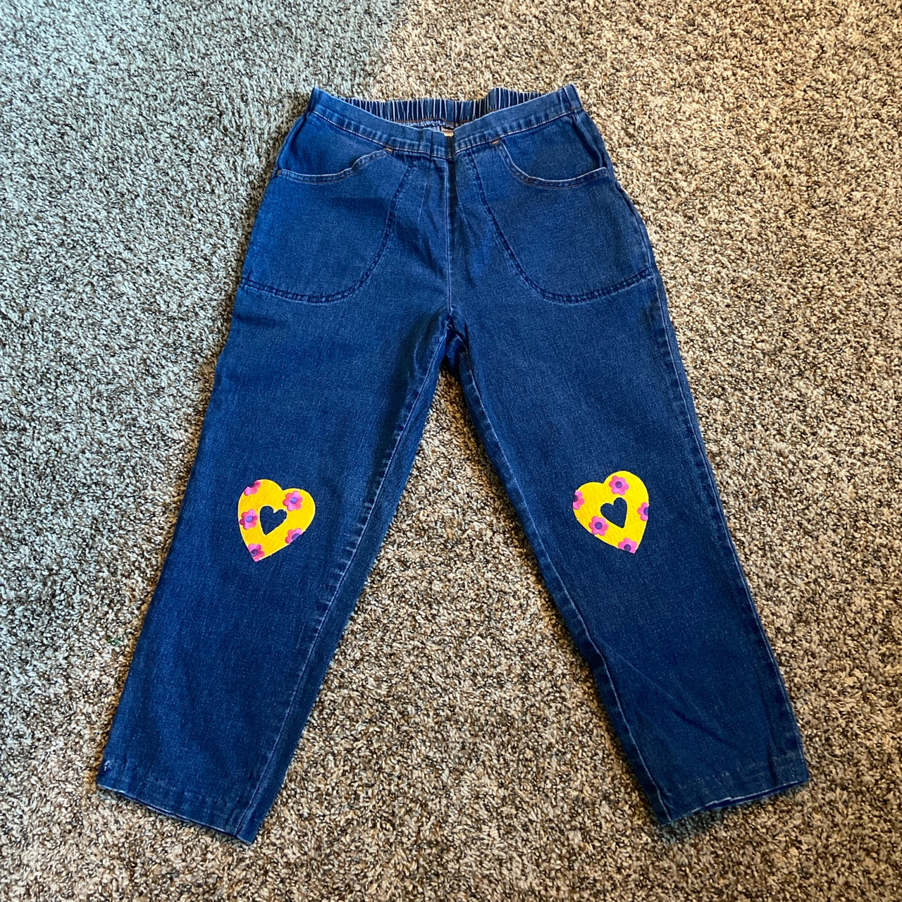 Product Image 1 - HEART PATCHWORK MOM JEANS 💛💗🌼💗🌼💛  Size: