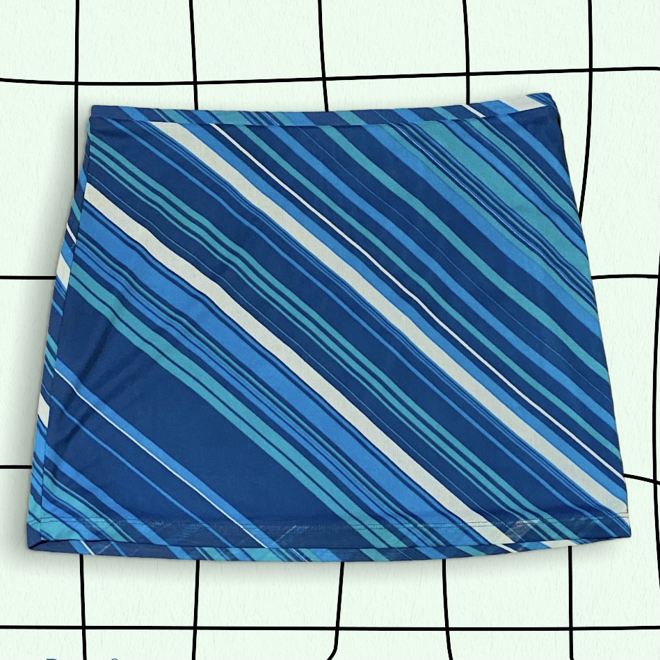 Product Image 1 - Y2K Blue Striped Mini Skirt  Cute