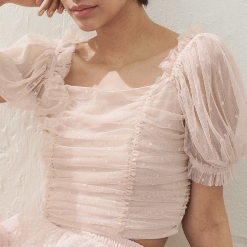 Product Image 1 - H&M Pink mesh puff sleeve