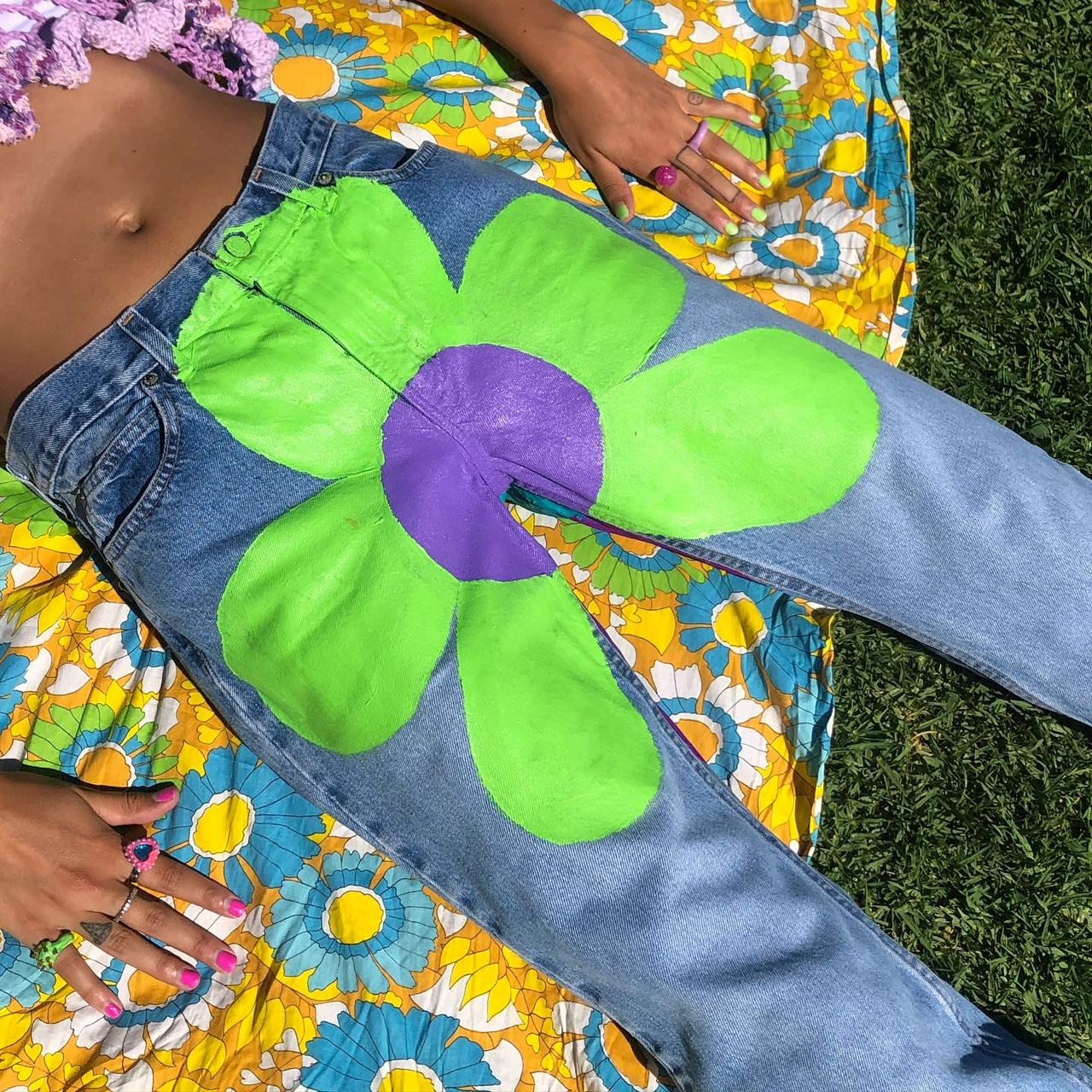 Product Image 1 - FLOWER INVASION DENIM   hand painted